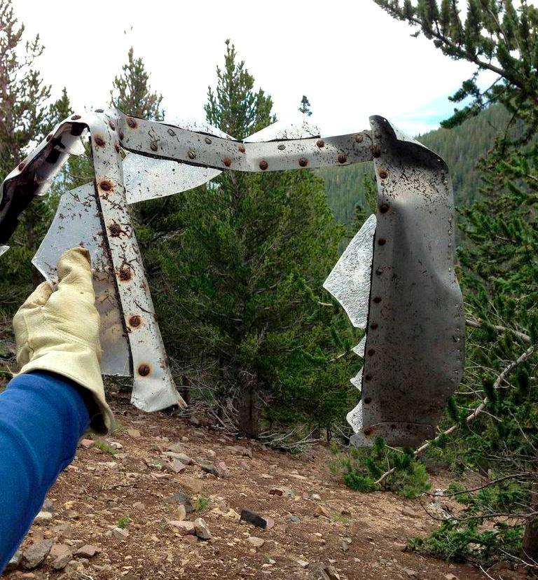 Part of a fuselage window frame and Plexiglas fragments from the B-17.