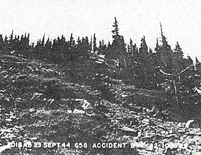 CRASH SITE - 1944<br /> <br /> Looking along the western slope of Bear Jaw Canyon. This photo was taken during the military's accident investigation in 1944.