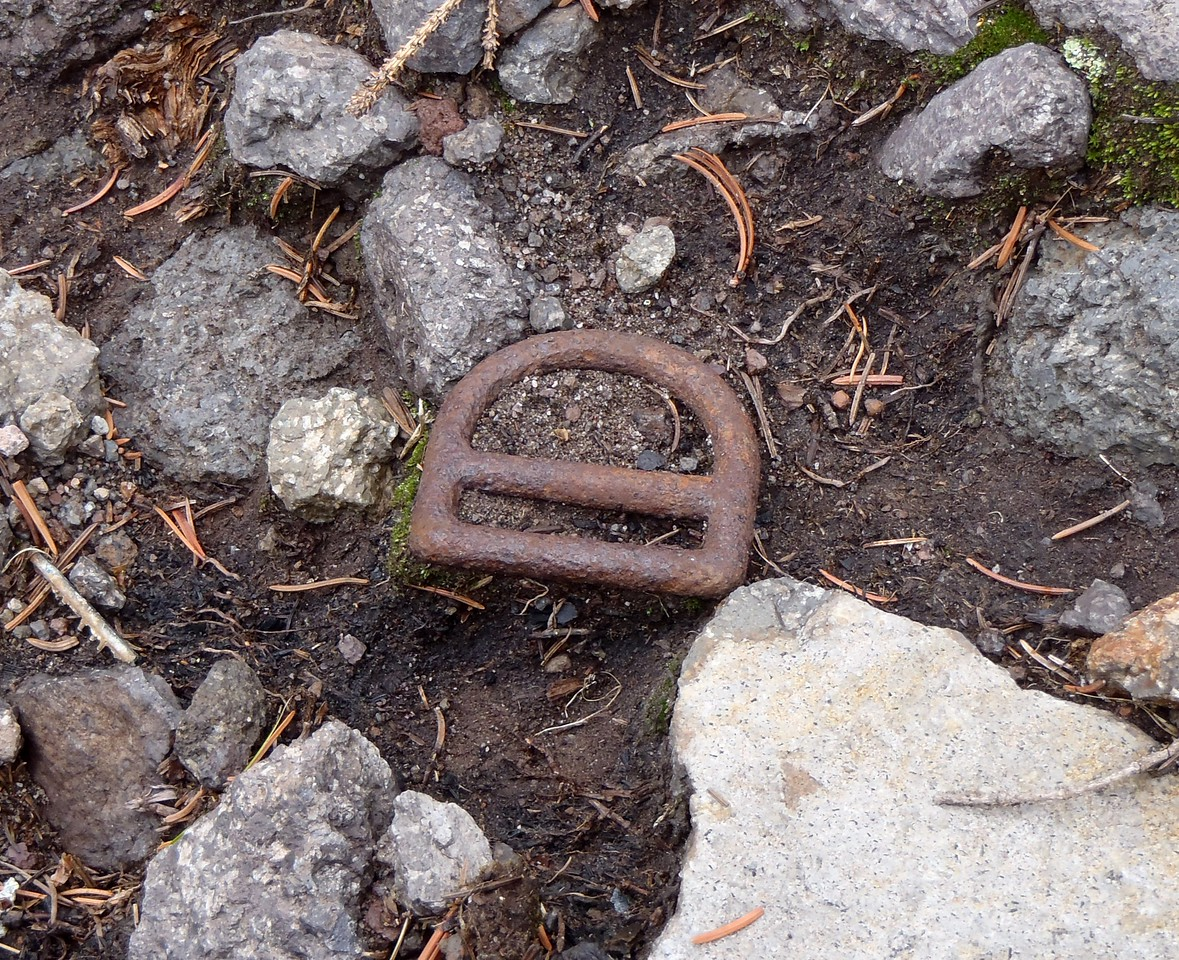 A reminder of the human toll from this accident was seeing this parachute harness buckle.