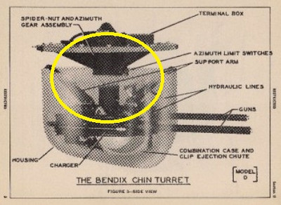 This WW2 training illustration shows where the Chin Turret was installed. The part circled depicts the component located at the crash site.