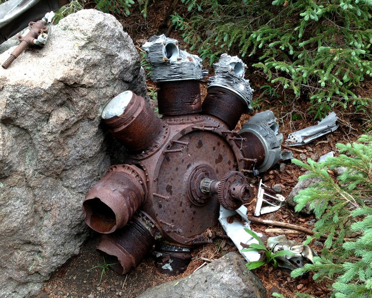 """The 4th Wright """"Cyclone"""" was located next to a boulder. Each of these engines were rated at 1,200 horsepower."""
