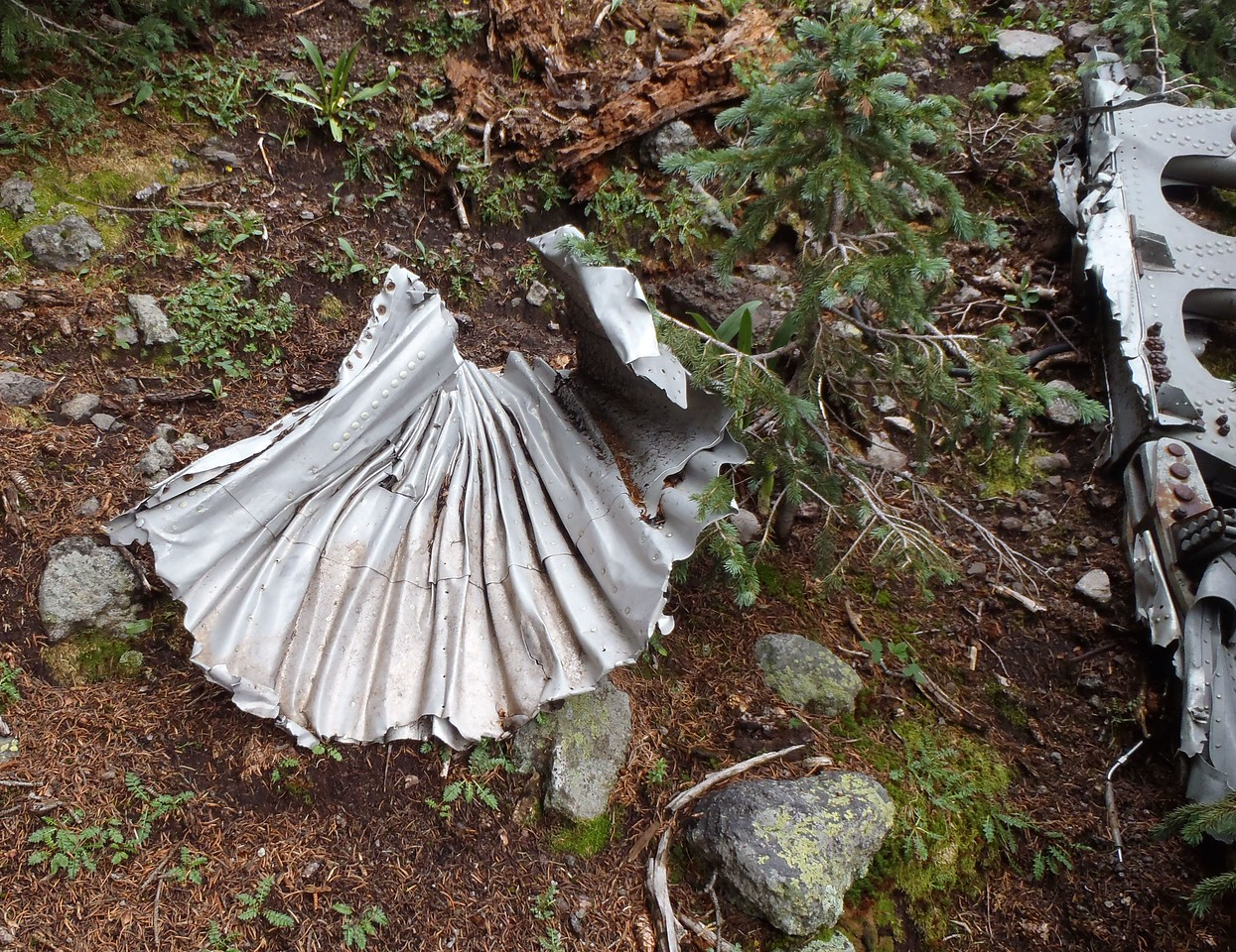 Sheets of aircraft aluminum skin from the B-17's wings and fuselage were found compressed into accordion shapes by impact.