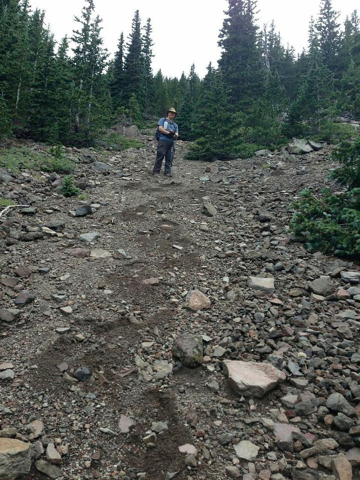 The hike up to the 11,700' ridge line was a consistent 50 degree slope with loose rock, boulders, and gravel.