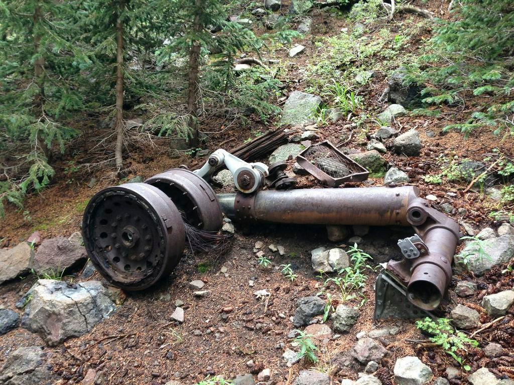 The other main landing gear and wheel assembly was found on the left side of the gulley.