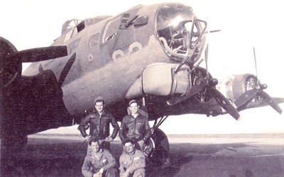"Sgt. Sikora, at top left, in front of his B-17 Flying Fortress at Kingman AAF.  <a href=""http://www.aircraftarchaeology.com"">http://www.aircraftarchaeology.com</a>"