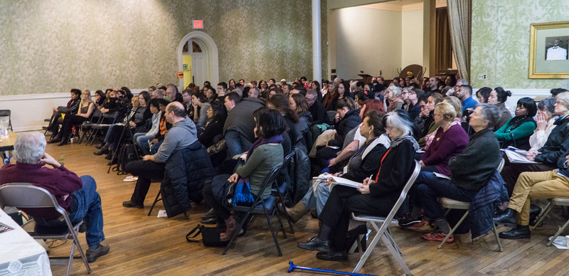 The audience of over 160 who crowded into the Lafayette Avenue Presbyterian Cnurch in Fort Greene.
