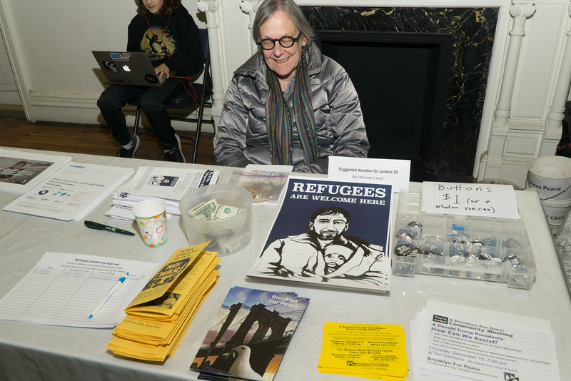 "Molly Nolan staffs the <a href=""http://brooklynpeace.org/"" target=""blank""><b>Brooklyn For Peace</b></a> information table at the event."