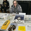 """Molly Nolan staffs the <a href=""""http://brooklynpeace.org/"""" target=""""blank""""><b>Brooklyn For Peace</b></a> information table at the event."""