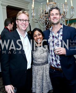 Matt Spence, Krishanti Vignarajah, Paul Breloff. Photo by Tony Powell. A Night of Arctic Cool. Norwegian Ambassador's Residence. March 17, 2014