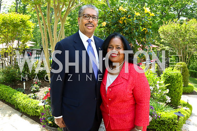 Earl and Amanda Stafford. Photo by Tony Powell. Africare Fundraising Reception. Stafford Residence. May 18, 2014