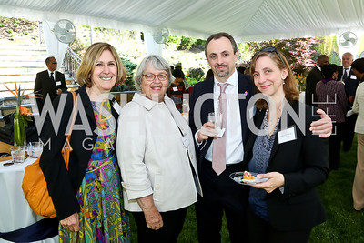 Ruth Bell, Deborah Harding, Jean-Marc Bernard, Rebecca Winthrop. Photo by Tony Powell. Africare Fundraising Reception. Stafford Residence. May 18, 2014