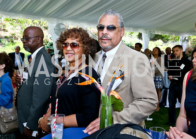 Gloria and Charles Scott. Photo by Tony Powell. Africare Fundraising Reception. Stafford Residence. May 18, 2014