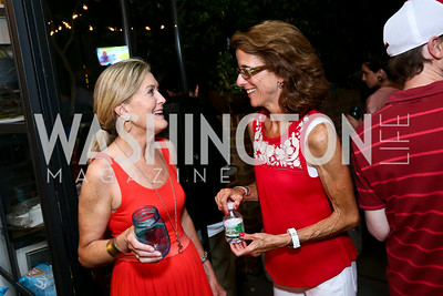 "Karen Johnsen, Mimsy Lindner. Photo by Tony Powell. ""American Grilled"" Premiere Party. Evans Seiver Residence. July 2, 2014"
