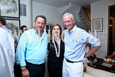"Robert Wiedmaier, Michele Seiver, Jack Evans. Photo by Tony Powell. ""American Grilled"" Premiere Party. Evans Seiver Residence. July 2, 2014"