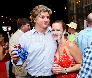 "Travel Channel Executive producer Patrick McManamee, Meaghan Donohoe. Photo by Tony Powell. ""American Grilled"" Premiere Party. Evans Seiver Residence. July 2, 2014"