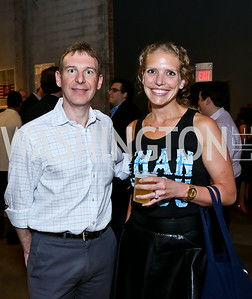 "Eric Schwerin, Amelia Gingold. Photo by Tony Powell. ""American Muscle"" Screening. Angelika Pop Up. June 27, 2014"