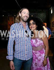 "Michael Mateer, Roshanak Ameli-Tehrani. Photo by Tony Powell. ""American Muscle"" Screening. Angelika Pop Up. June 27, 2014"