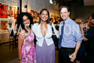 "Roshanak Ameli-Tehrani, Karen Finney, John Hanshaw. Photo by Tony Powell. ""American Muscle"" Screening. Angelika Pop Up. June 27, 2014"
