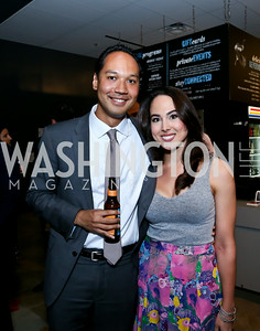 "Brad Jenkins, Meena Harris. Photo by Tony Powell. ""American Muscle"" Screening. Angelika Pop Up. June 27, 2014"