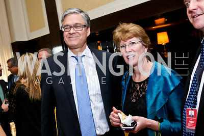 John Harwood, Meredith Daly. Photo by Tony Powell. Gwen Ifill Roast. Press Club. May 19, 2014