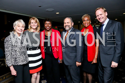 Eleanor Clift, Martha Raddatz, Gwen Ifill, Ray Suarez, Dorothy Gilliam, John Dickerson. Photo by Tony Powell. Gwen Ifill Roast. Press Club. May 19, 2014