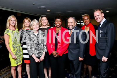 Julie Chase, Eleanor Clift, Calire Swift, Martha Raddatz, Gwen Ifill, Ray Suarez, Dorothy Gilliam, John Dickerson. Photo by Tony Powell. Gwen Ifill Roast. Press Club. May 19, 2014