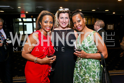 Katafa Reed, ANWC President Claire Swift, Sheila Miller. Photo by Tony Powell. Gwen Ifill Roast. Press Club. May 19, 2014