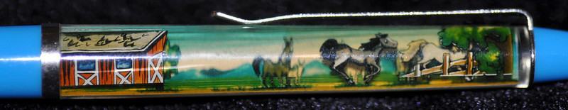 Back: Hold Your Horses!!<br /> Front: barn and horses<br /> Floater: 2 horses<br /> Style: Classic<br /> Color: light blue<br /> Cost: $6.00<br /> Category: animals