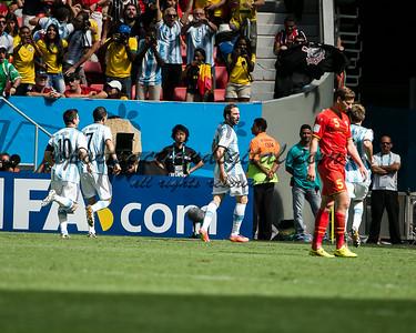 Argentina players celebrate a goal