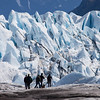 Hikers in front of Matanuska Glacier