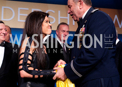 Ukrainian singer and revolutionary Ruslana smiles at kind words from Supreme Allied Commander of Europe General Philip Breedlove