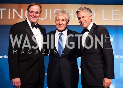 Atlantic Council CEO Frederick Kempe, Sec. Def. Chuck Hagel, and John Huntsman