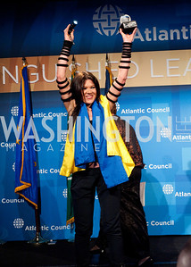 Honoree Ruslana celebrating her award and Ukraine