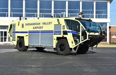 """Shenandoah Valley Airport in Weyers Cave, Virginia (Augusta County).  Crash 6 is a 2017 Oshkosh Striker 4x4 with a 1950/1500/210 and 450# Dry Chem.  Serial number 780704.  It has two 750 gpm nozzles - roof and front bumper.  When responding into mutual aide counties, its designation is """"Crash 226""""."""