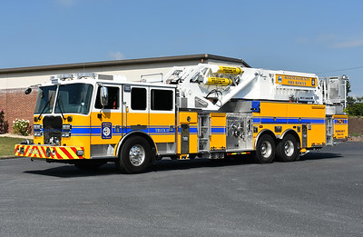 Photographed in July of 2017 and just prior to entering service is Augusta County's Truck 11, a 2017 KME Severe Service 100' Aerialcat.  It has an unusual top mount 2000 gpm and carries 300 gallons of water and 25 gallons of foam.  KME number GSO 10337.  It operates from the county's Fishersville station.