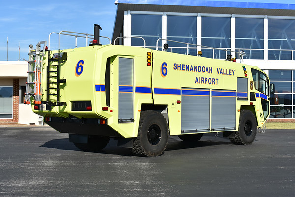 "Shenandoah Valley Airport in Weyers Cave, Virginia (Augusta County).  Crash 6 is a 2017 Oshkosh Striker 4x4 with a 1950/1500/210 and 450# Dry Chem.  Serial number 780704.  It has two 750 gpm nozzles - roof and front bumper.  When responding into mutual aide counties, its designation is ""Crash 226""."