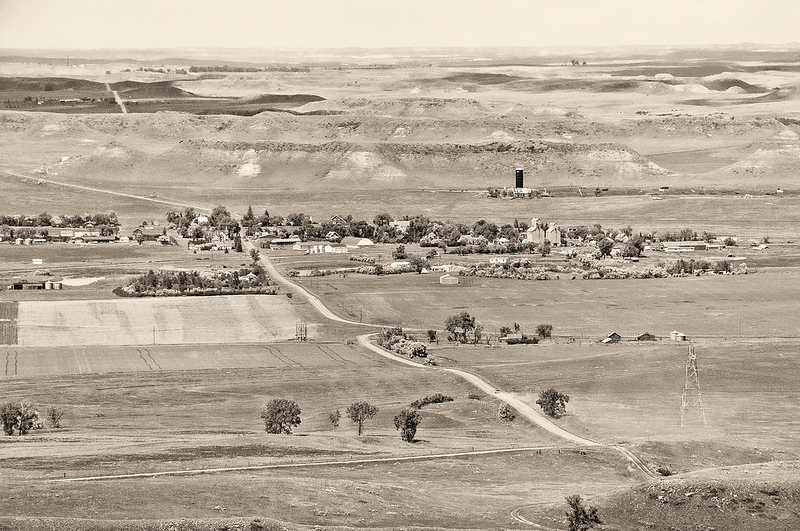 """Looking down in to the town of Sentinel Butte<br /> <br /> You can own this print as wall decor or other products.  Click the """"buy"""" button to browse."""