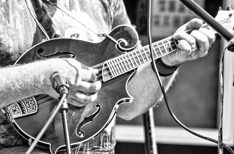 """Mandolin strumming in front of mic ouitdoors at Medora, ND.<br /> <br /> You can add this image to your collection, just click the """"buy"""" button to browse your options.  Or as a keepsake, coffee cup, mouse pad or other items."""