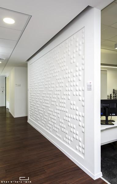 צילום מוצר אדריכלי: חיפוי קיר של חברת ברקאי<br /> צולם בבניין ביטוח הכשרה בחולון