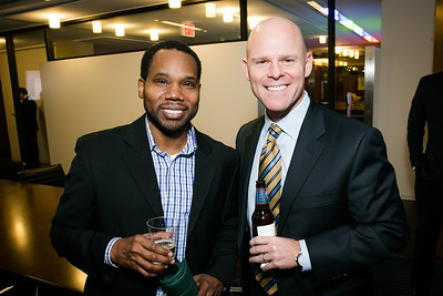 Marlon Crutchfield, Marty Stanton. Photo by Alfredo Flores. Beasley Real Estate 2nd Anniversary Celebration. Beasley Real Estate Washington, DC office. January 30, 2014.CR2