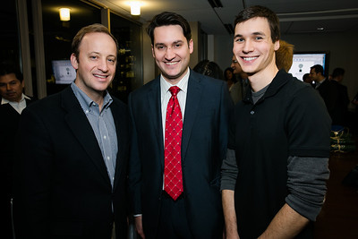 Curtis Jablonka, Sean Vann, Jacob Cigna. Photo by Alfredo Flores. Beasley Real Estate 2nd Anniversary Celebration. Beasley Real Estate Washington, DC office. January 30, 2014.CR2