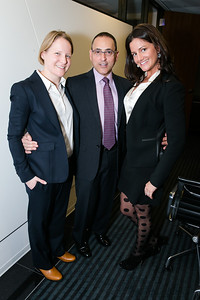 Marian Marsten Rosaaen, Dan Bohnett, Ryan Eve Nester. Photo by Alfredo Flores. Beasley Real Estate 2nd Anniversary Celebration. Beasley Real Estate Washington, DC office. January 30, 2014.CR2