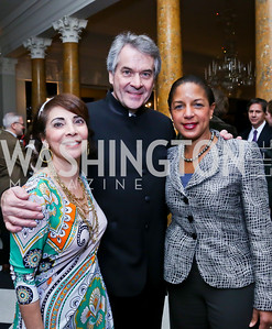 Lady Westmacott, British Amb. Sir Peter Westmacott, United States National Security Advisor Dr. Susan Rice. Photo by Tony Powell. Beatles Tribute Party. British Ambassador's residence. February 8, 2014