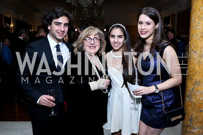 Cyrus Sadeghian, Shahla Batman, Sabrina Sadeghian, Zoe Shankweiler. Photo by Tony Powell. Beatles Tribute Party. British Ambassador's residence. February 8, 2014