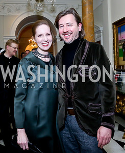 Juleanna Glover, Christopher Reiter. Photo by Tony Powell. Beatles Tribute Party. British Ambassador's residence. February 8, 2014