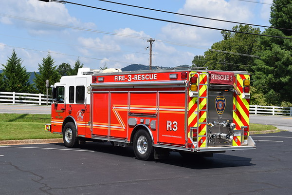 Another view of Rescue 3 from Boonsboro, showing the rear pump panel.