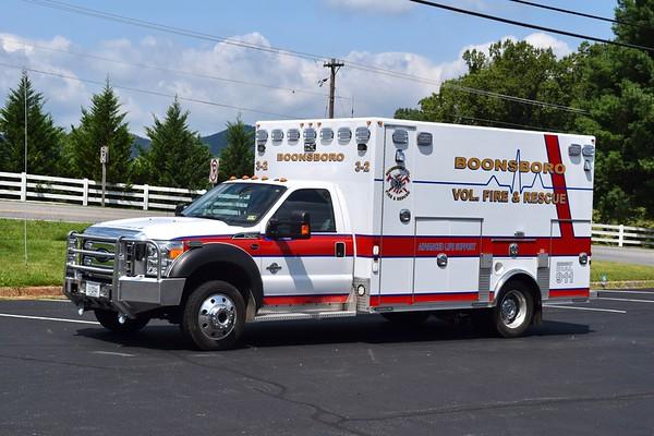 Ambulance 3-2 is a 2014 Ford F-450/Osage.