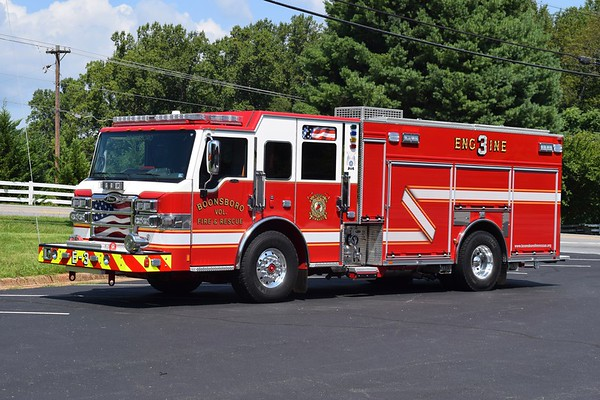 Engine 3 from Boonsboro is a nice 2016 Pierce Velocity PUC, 1250/750/30 CAFS, serial number 29225.