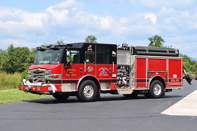 """Engine 51 is a nice 2014 Pierce Impel, 1500/1000, sn- 27483.  The """"JF"""" on the roof refers to Jefferson Forest, the local high school."""