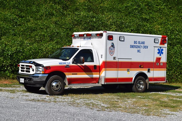 Medic 2-2 is primarily used by the volunteers at Big Island (Bedford career staff utilizes M2-3, a 2003 Ford F-350/Osage).  This is 2003 Ford F-350/Wheeled Coach.
